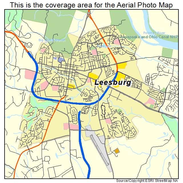 aerial photography map of leesburg va virginia