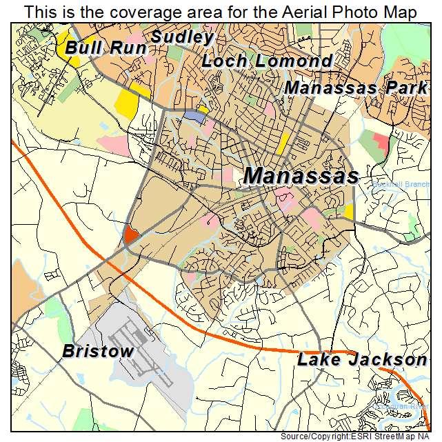 aerial photography map of manassas va virginia