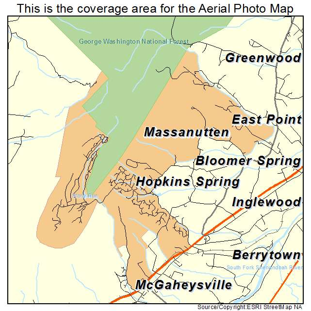 Aerial Photography Map Of Massanutten Va Virginia