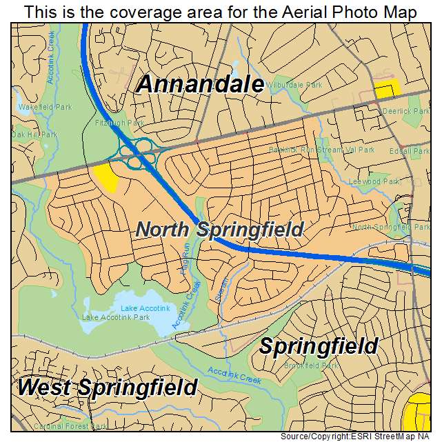 Aerial Photography Map Of North Springfield VA Virginia