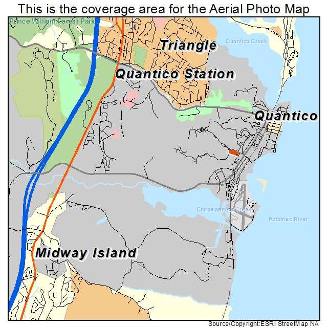 Aerial Photography Map Of Quantico Station VA Virginia