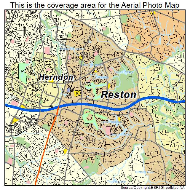 Aerial Photography Map of Reston VA Virginia