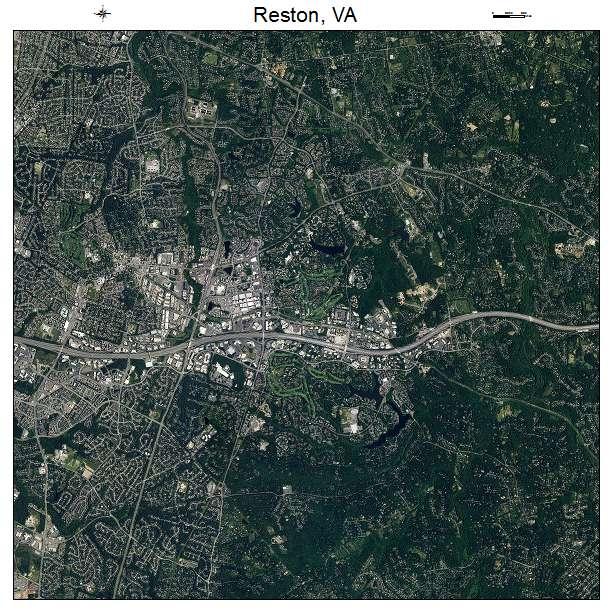 Aerial Photography Map Of Reston VA Virginia