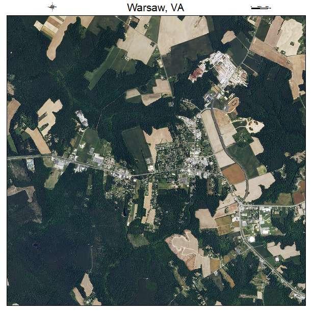 Warsaw, VA air photo map