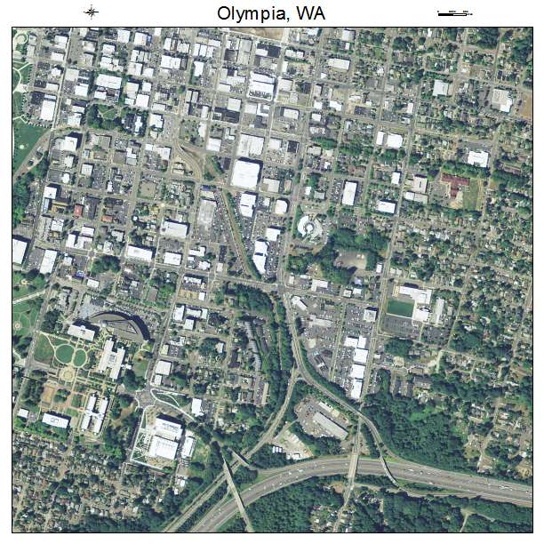 Aerial Photography Map of Olympia WA Washington