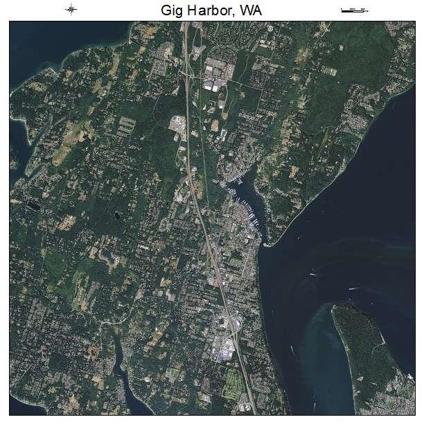 Gig Harbor, WA air photo map