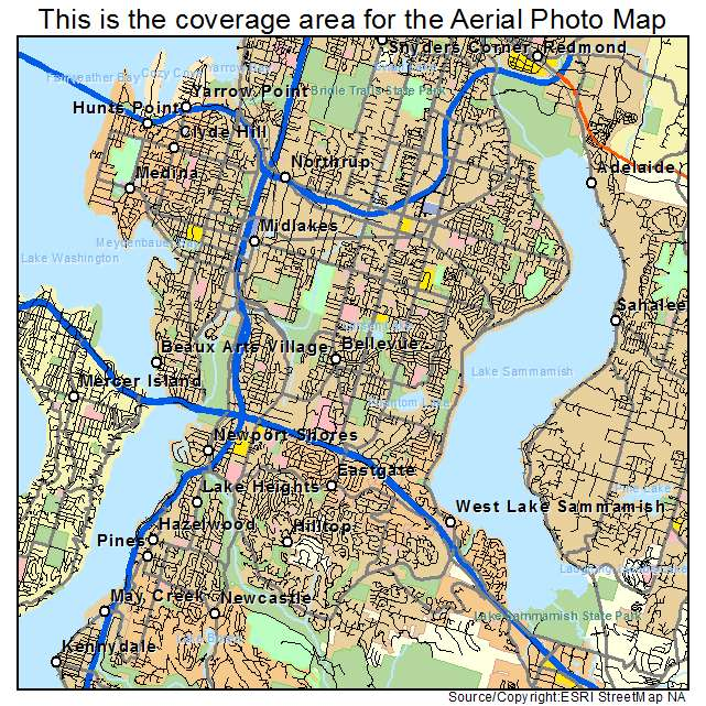 Aerial Photography Map Of Bellevue Wa Washington