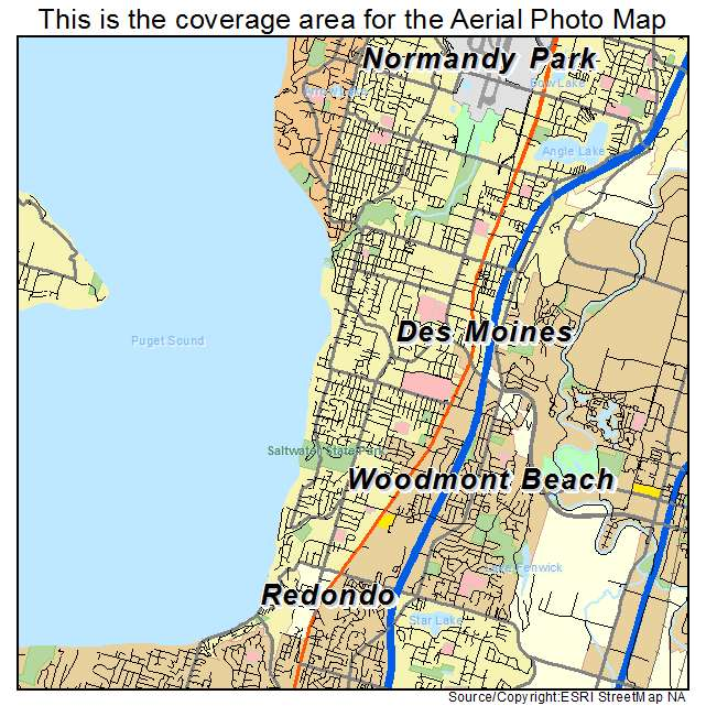 Aerial Photography Map of Des Moines WA Washington