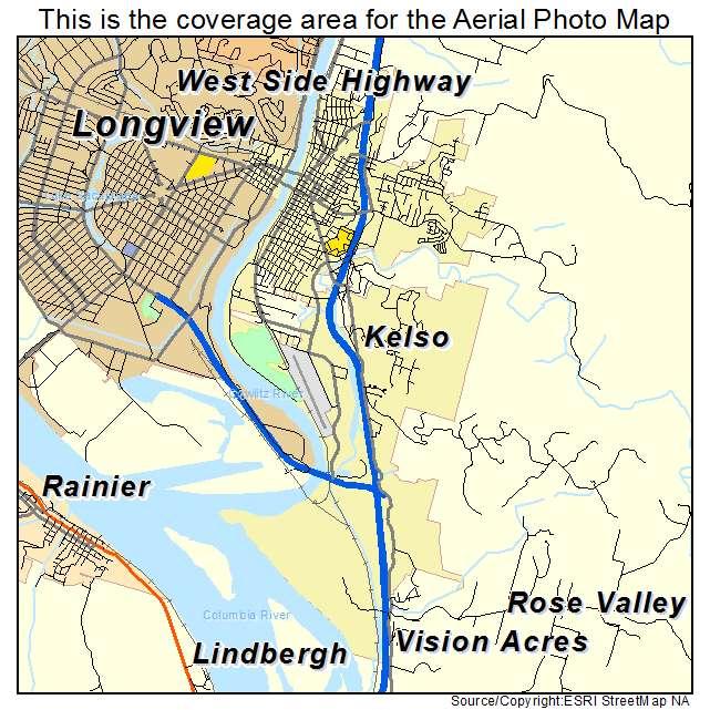 Aerial Photography Map Of Kelso WA Washington