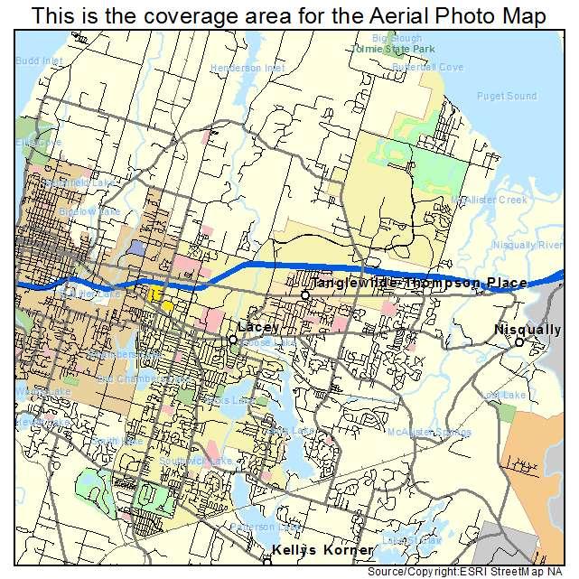 Aerial Photography Map of Lacey WA Washington