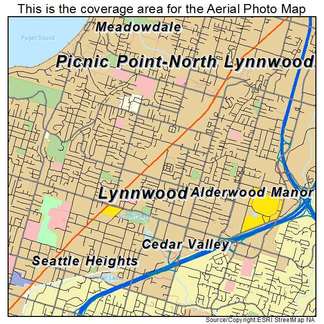 Aerial Photography Map of Lynnwood WA Washington