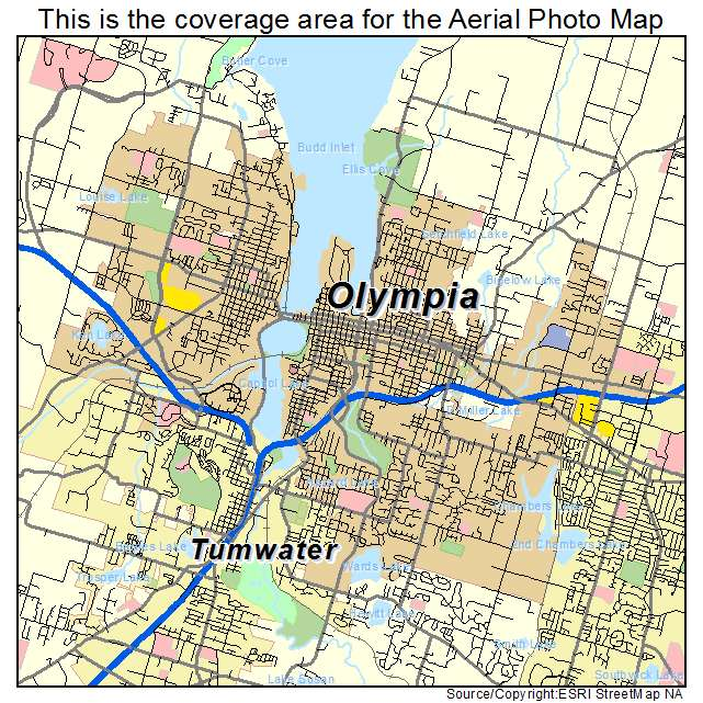 Aerial Photography Map Of Olympia WA Washington