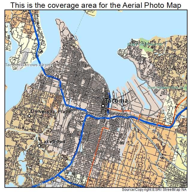 Aerial Photography Map Of Tacoma WA Washington