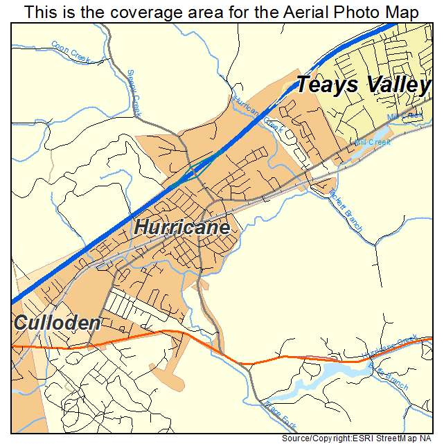 Aerial Photography Map of Hurricane WV West Virginia