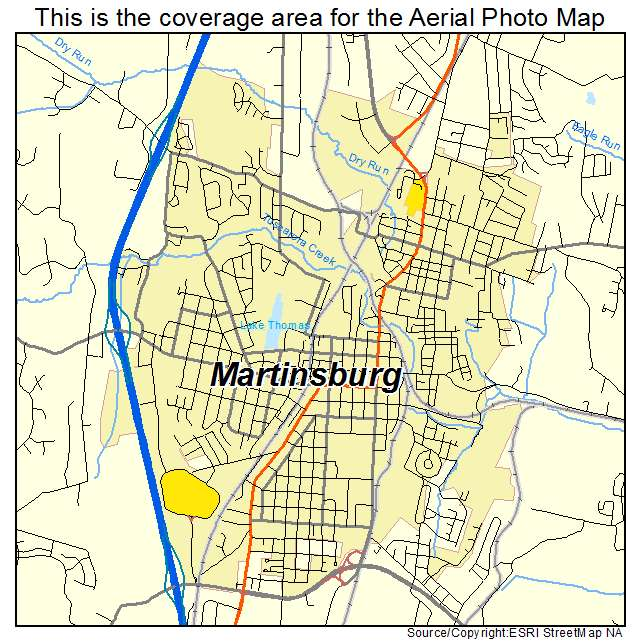 Aerial Photography Map of Martinsburg WV West Virginia