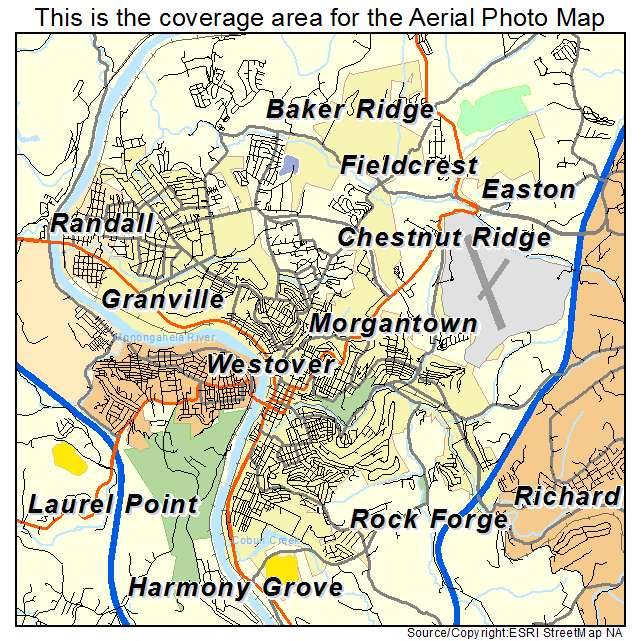 Image Gallery Morgantown Map