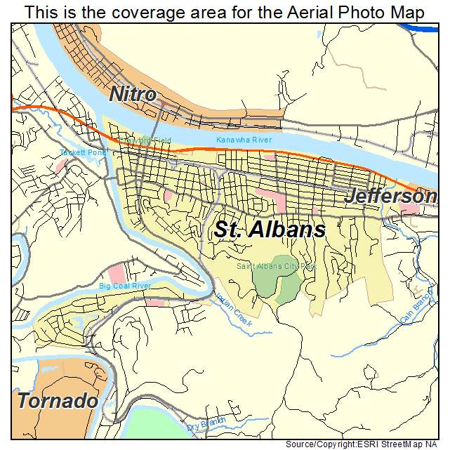 Aerial Photography Map of St Albans WV West Virginia