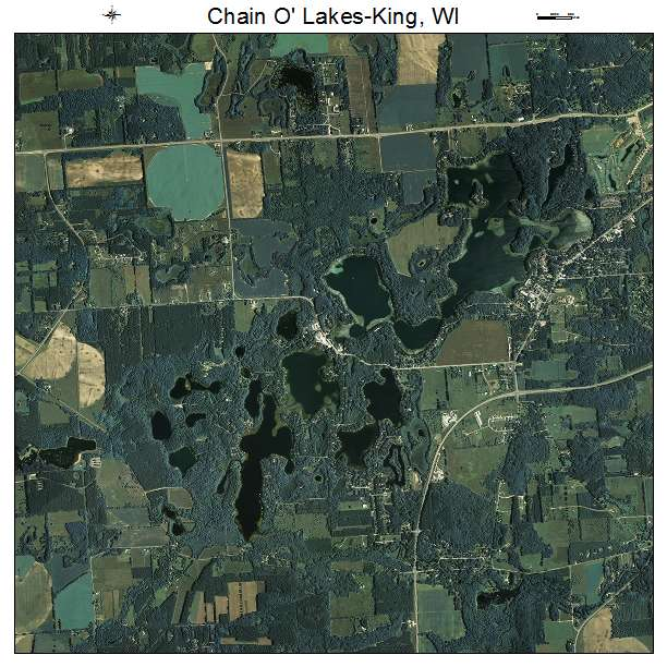 Chain O Lakes King, WI air photo map