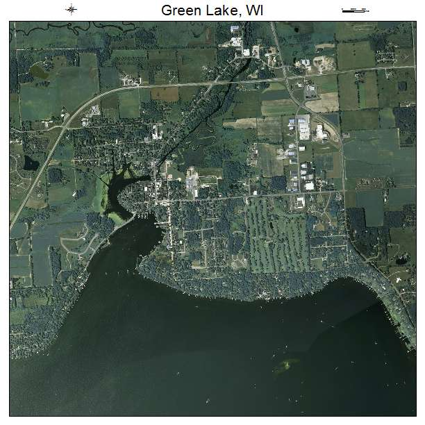 Aerial Photography Map Of Green Lake  Wi Wisconsin