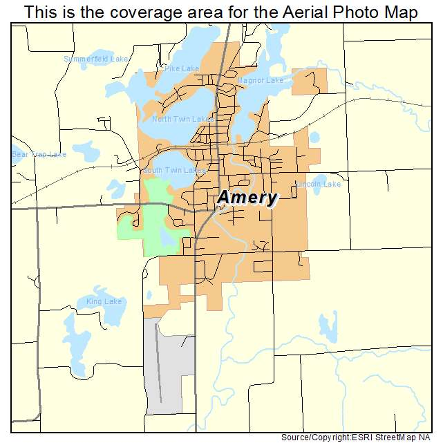 Aerial Photography Map of Amery, WI Wisconsin