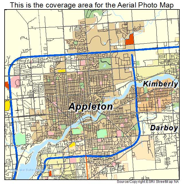 Aerial Photography Map of Appleton WI Wisconsin