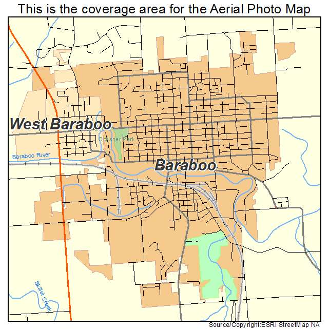 Aerial Photography Map Of Baraboo Wi Wisconsin