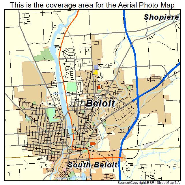Aerial Photography Map Of Beloit  Wi Wisconsin