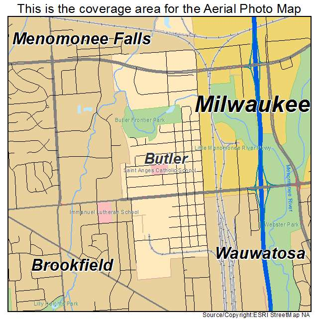 Aerial Photography Map Of Butler  Wi Wisconsin