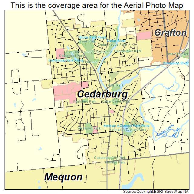 Aerial Photography Map of Cedarburg, WI Wisconsin