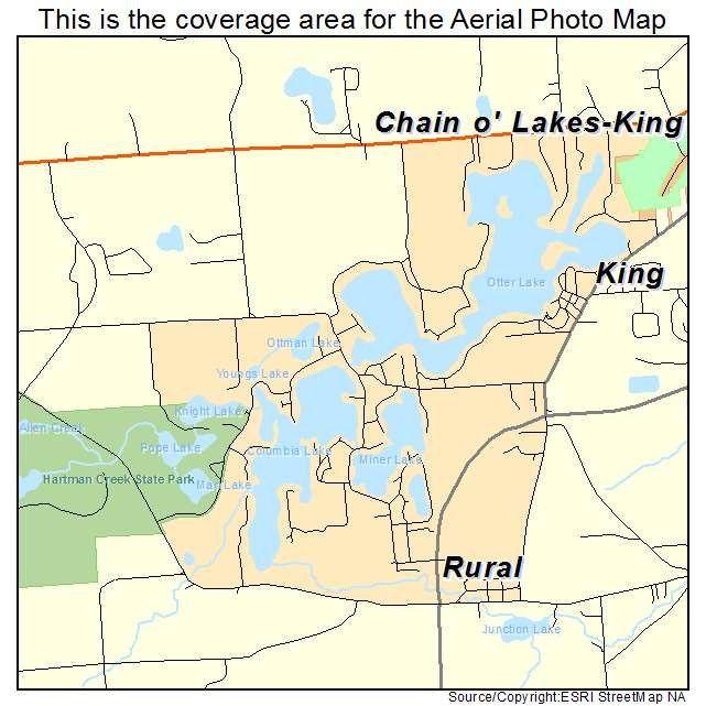 Chain O Lakes King, WI location map