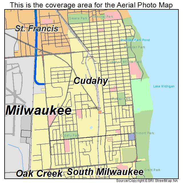 Aerial Photography Map of Cudahy, WI Wisconsin