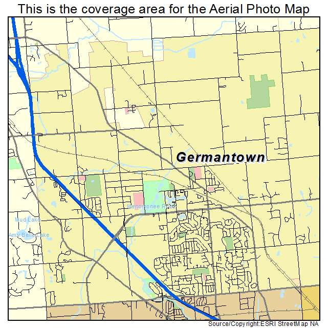 Aerial Photography Map of Germantown WI Wisconsin