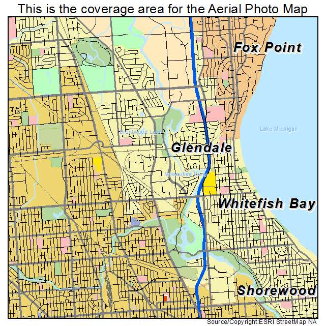 Aerial Photography Map of Glendale WI Wisconsin