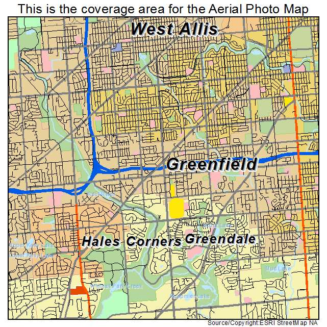 Aerial Photography Map Of Greenfield  Wi Wisconsin