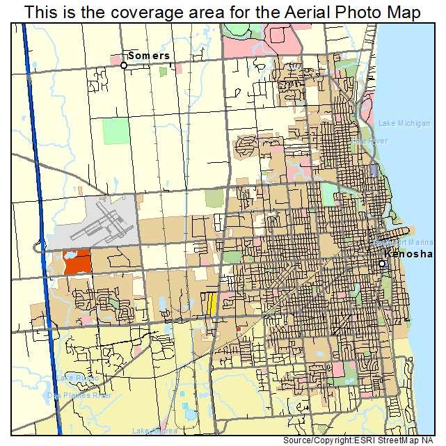 Aerial Photography Map Of Kenosha WI Wisconsin