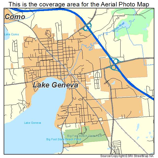 Aerial Photography Map Of Lake Geneva  Wi Wisconsin
