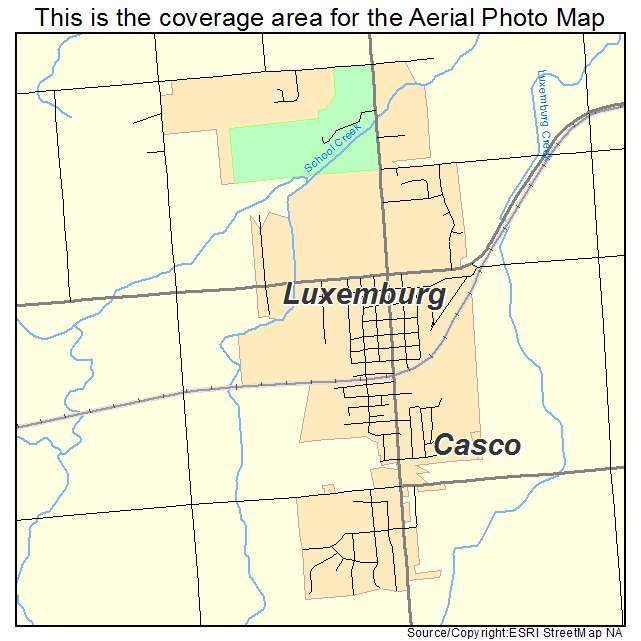 Aerial Photography Map Of Luxemburg  Wi Wisconsin