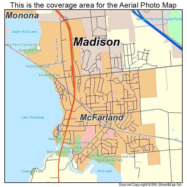 McFarland, WI Wisconsin Aerial Photography Map 2015