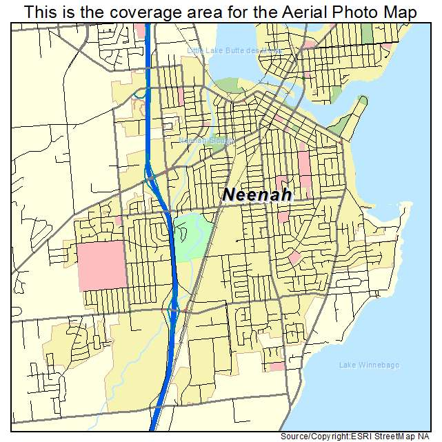 Aerial Photography Map Of Neenah Wi Wisconsin