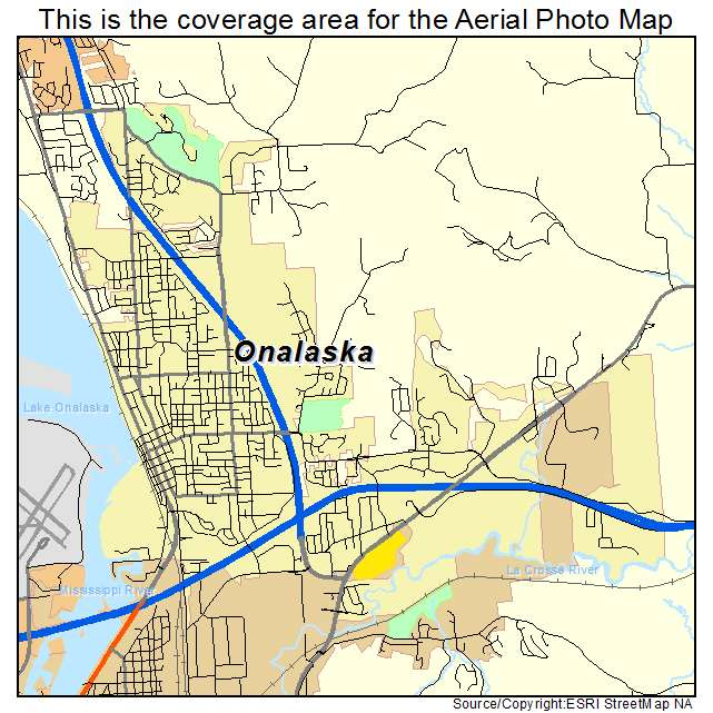 Aerial Photography Map Of Onalaska  Wi Wisconsin