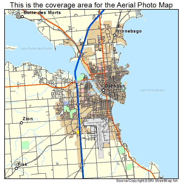 Aerial Photography Map of Oshkosh WI Wisconsin