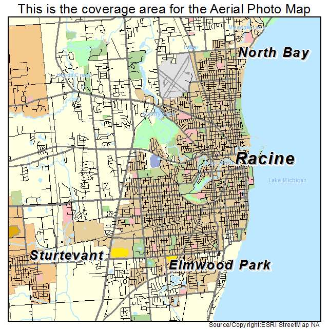 Aerial Photography Map Of Racine  Wi Wisconsin