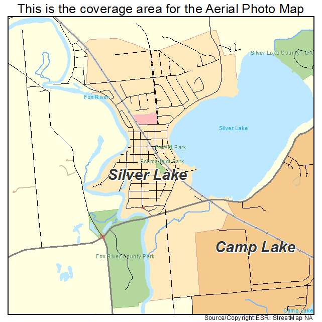 Aerial Photography Map of Silver Lake, WI Wisconsin