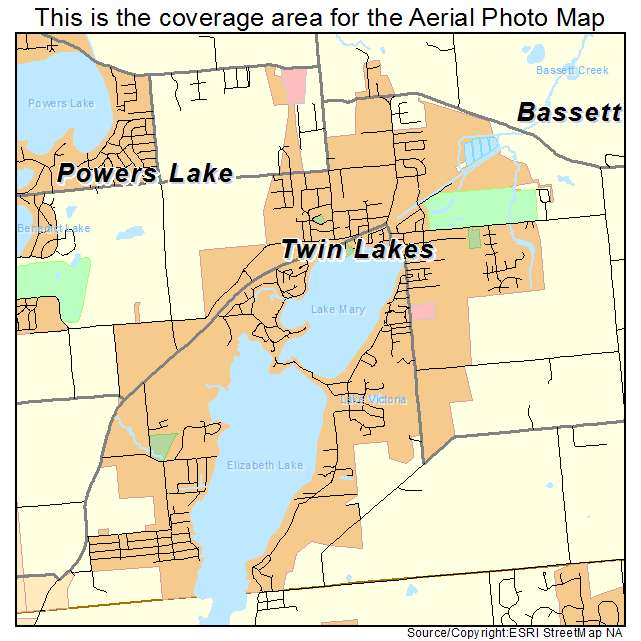 Aerial Photography Map of Twin Lakes WI Wisconsin