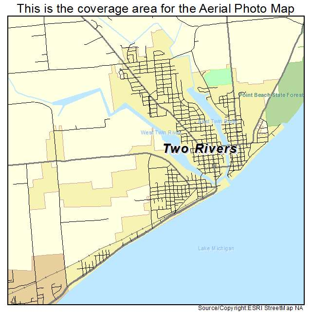 Aerial Photography Map Of Two Rivers WI Wisconsin