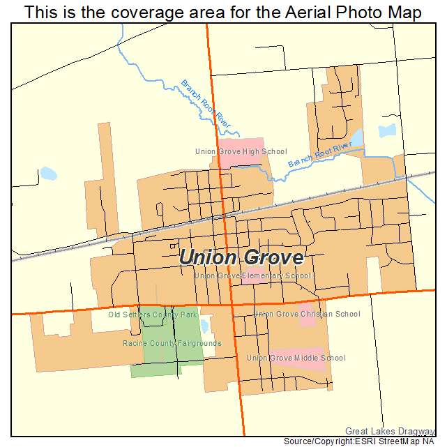 Aerial Photography Map Of Union Grove  Wi Wisconsin