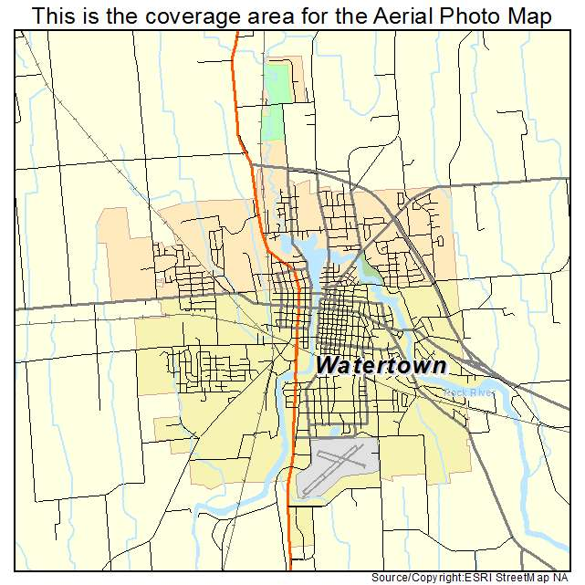 Aerial Photography Map of Watertown WI Wisconsin
