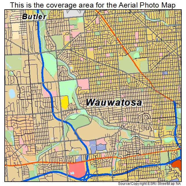 Aerial Photography Map of Wauwatosa WI Wisconsin
