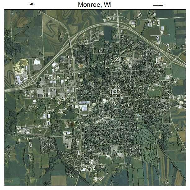 Monroe, WI air photo map