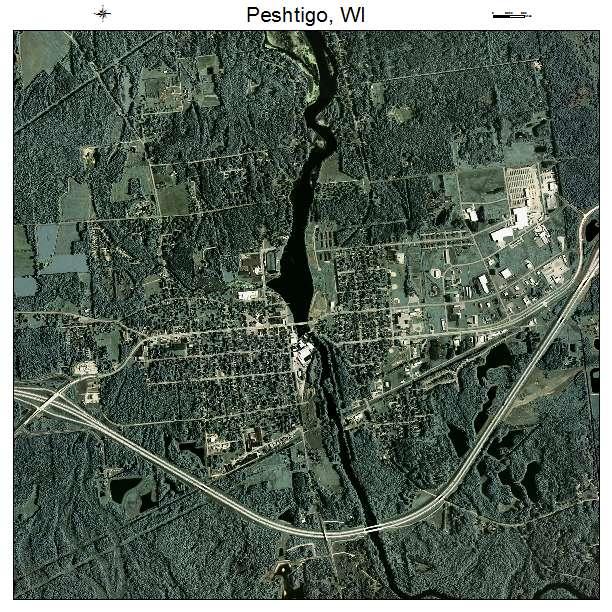 Aerial Photography Map Of Peshtigo  Wi Wisconsin